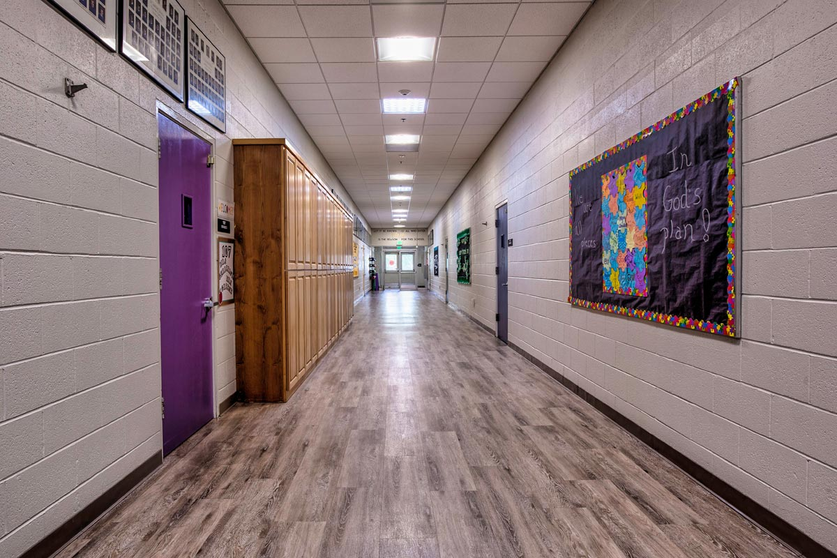new flooring install in school hallway